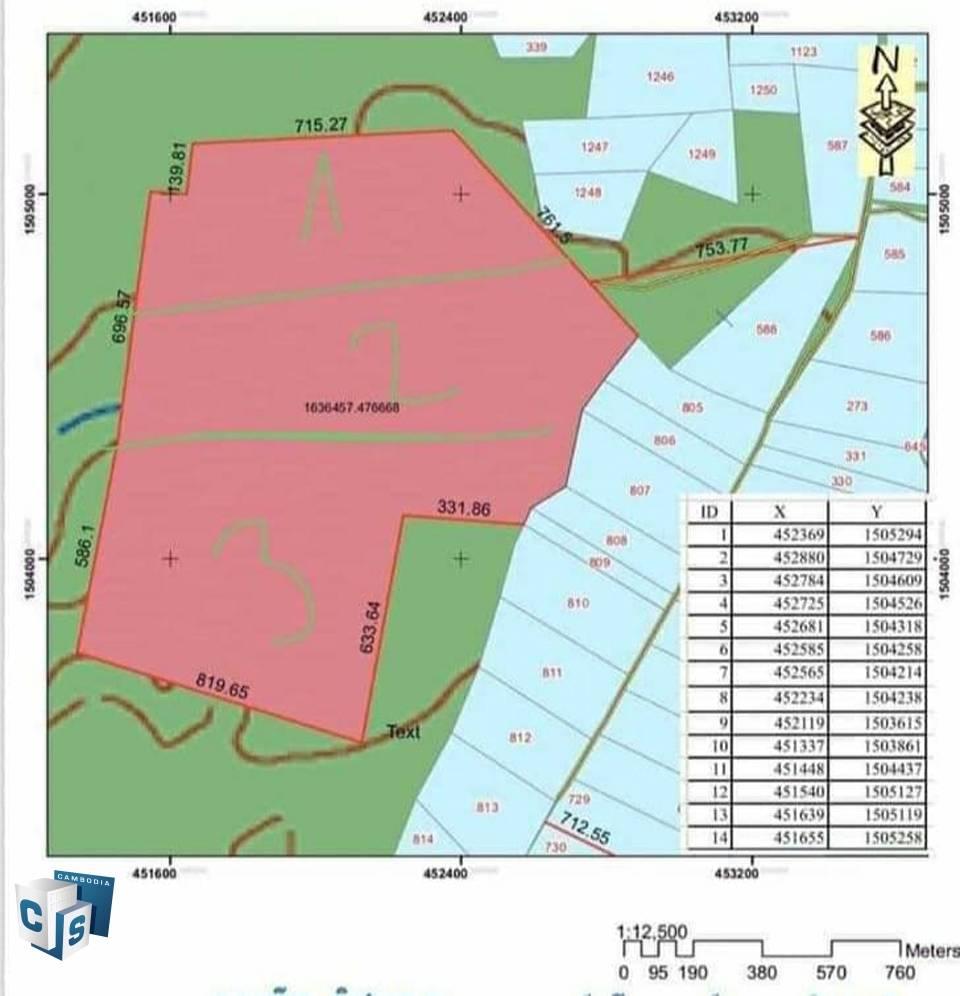 1,636,457 sq m Land – For Sale – Preah Vihear Province.