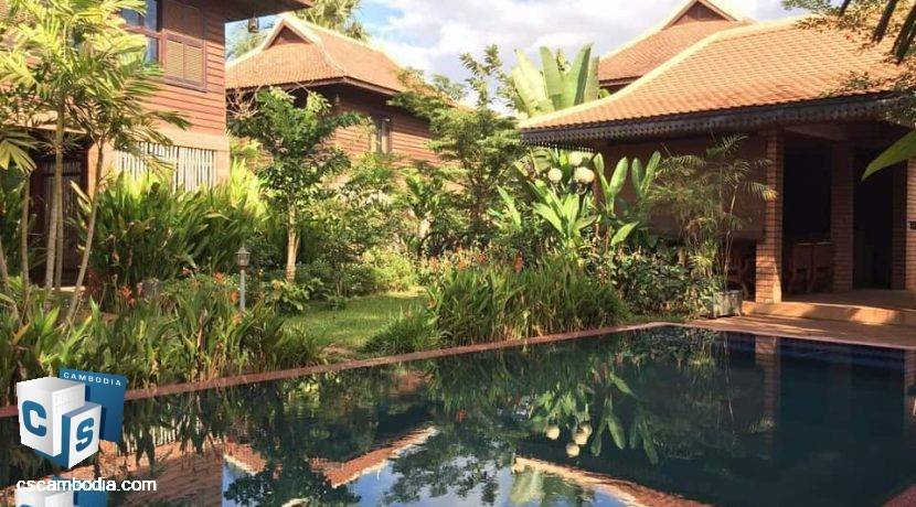 Beautiful 8 Room Luxury Hotel –With Pool– For Rent -Chreav Commune – Siem Reap